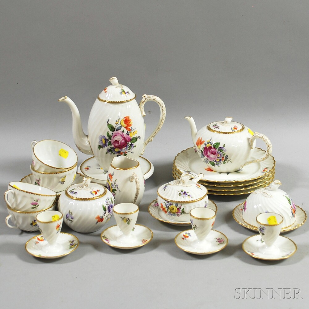 Twenty-three-piece Nymphenburg Floral-decorated Dessert and Tea Service