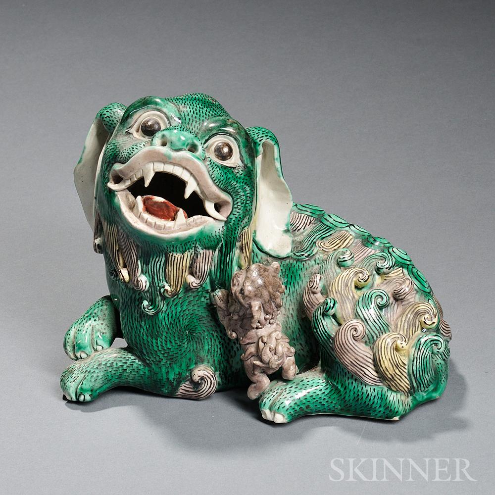 Sancai-style Ceramic Foo Lion with a Cub