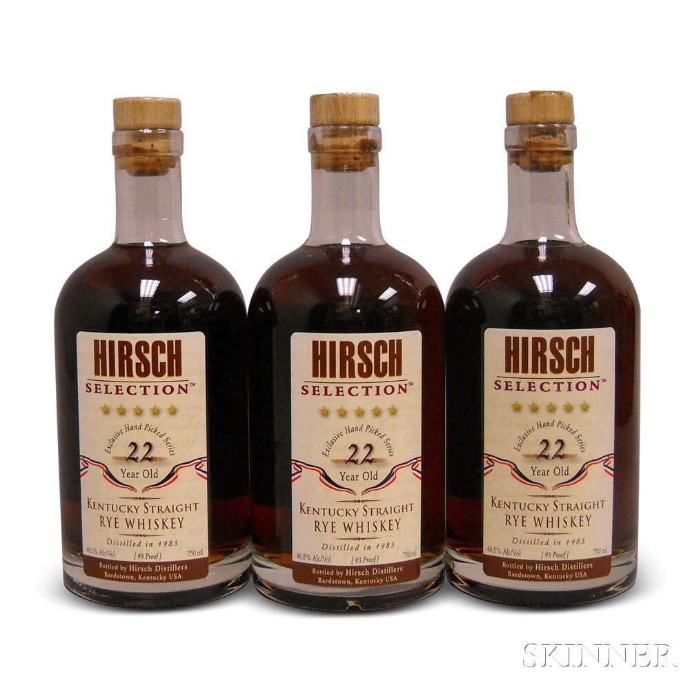 Hirsch Selection Rye 22 Years Old, 3 750ml bottles