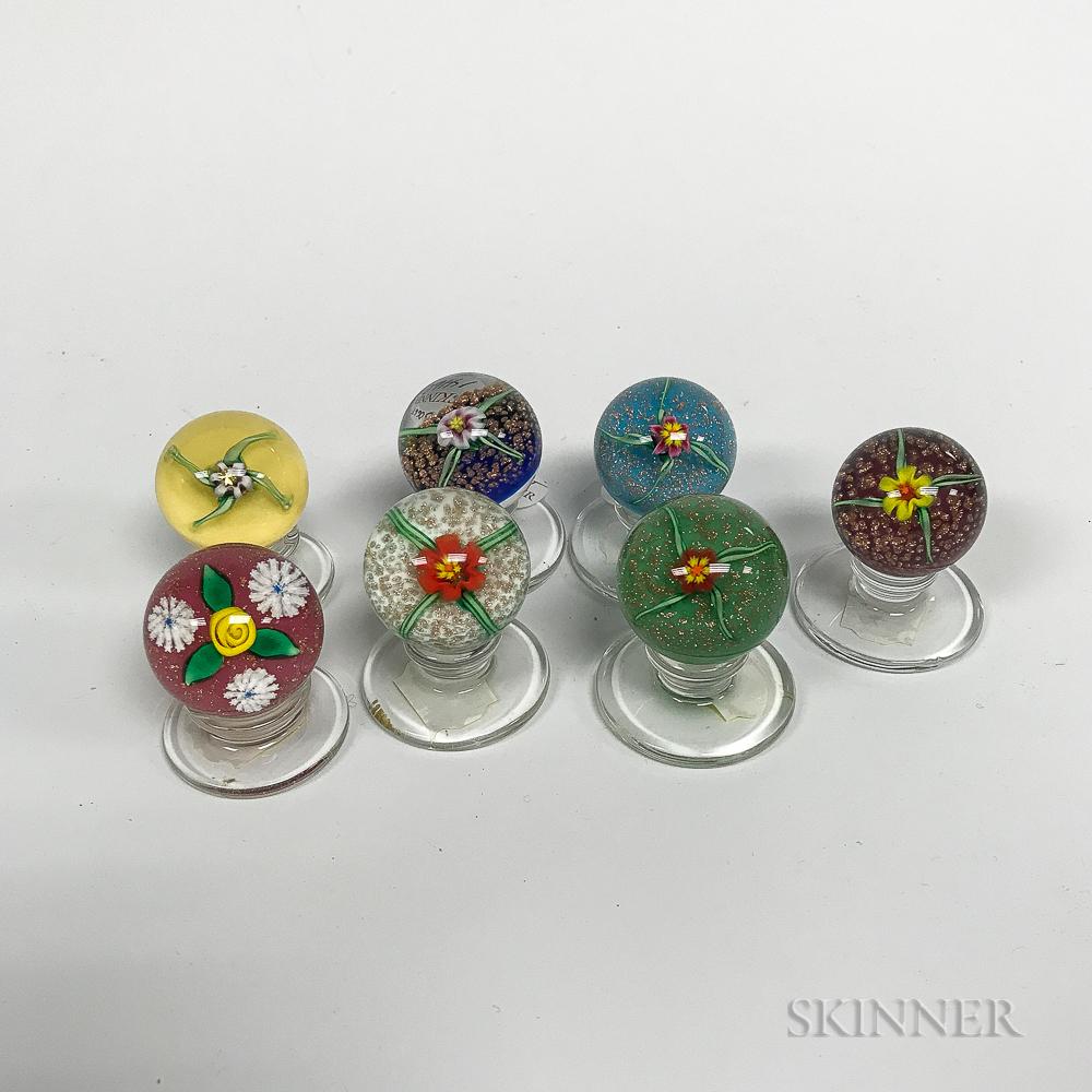 Seven Charles Kaziun (1919-1992) Art Glass Paperweights