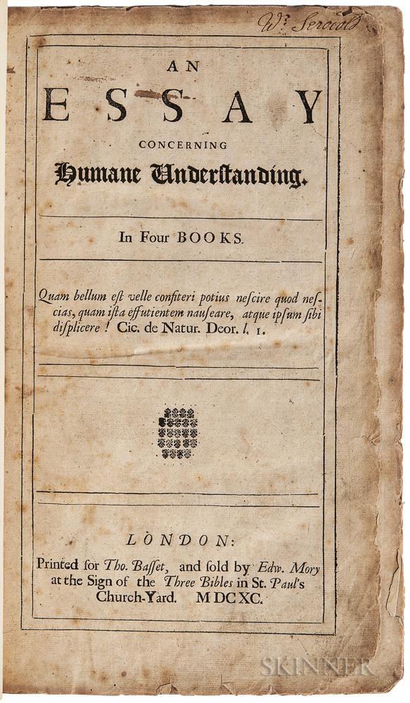 Locke, John (1632-1704) An Essay Concerning Humane Understanding in Four Books.