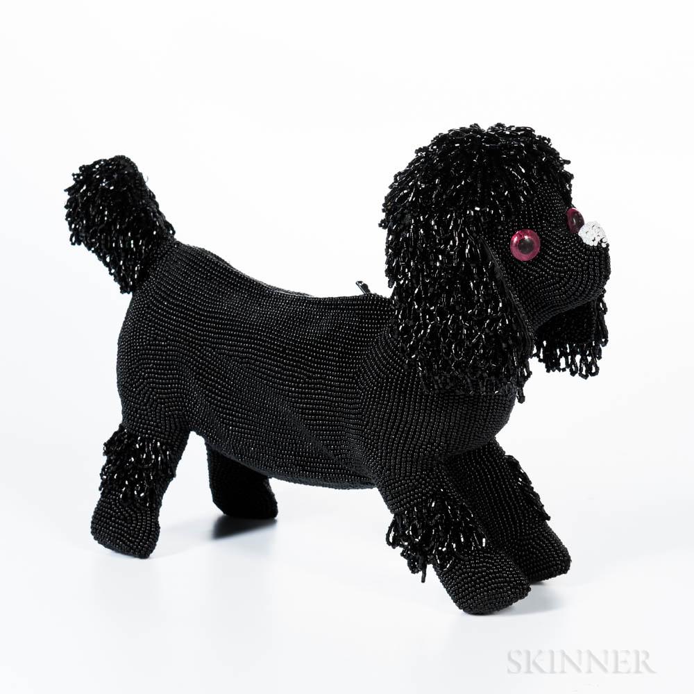 Walborg Black Beaded Poodle Clutch