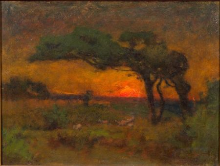 American School, 19th Century    Sunset Landscape