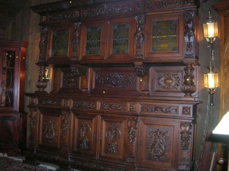 Large Modern Italian Renaissance-style Carved Mahogany Two-part Sideboard