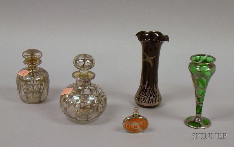 Five Silver Overlaid Glass and Ceramic Items