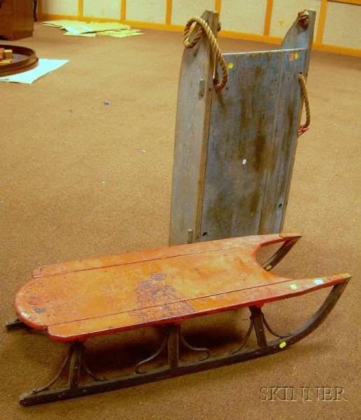 Red-painted Iron-mounted Wooden Sled and a Blue-painted Wooden Utility Sled