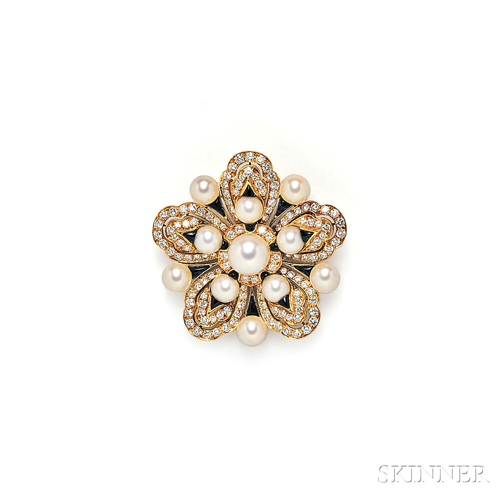18kt Gold, Cultured Pearl, and Diamond Brooch, Chanel