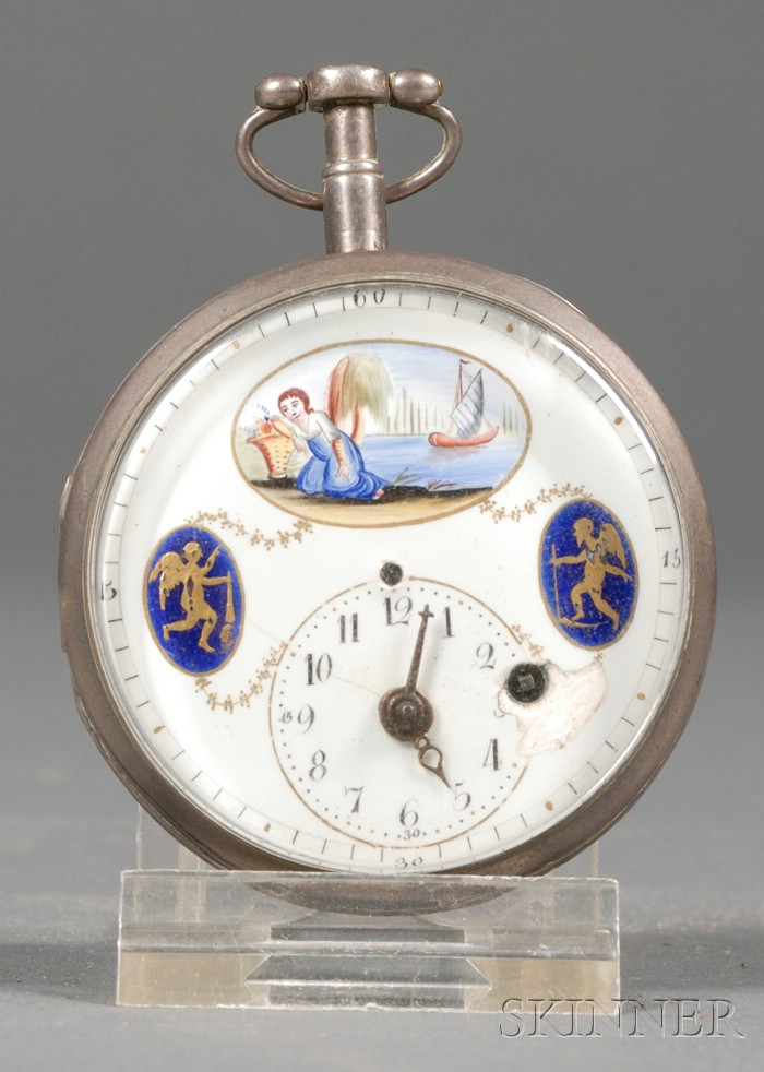Silvered and Enamel Pocket Watch