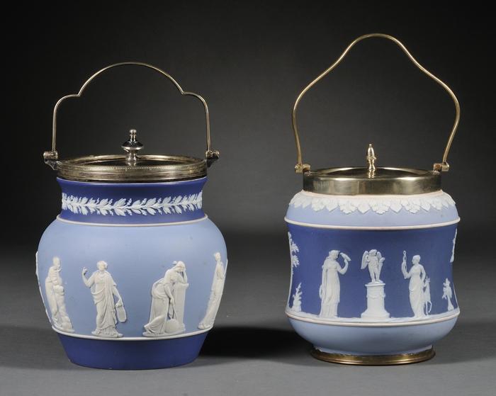 Two Wedgwood Three-color Jasper Dip Biscuit Jars