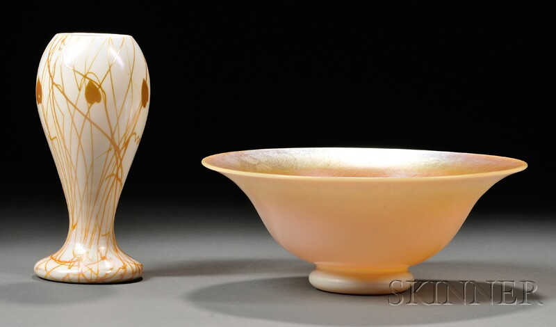 Vase and Bowl Attributed to Steuben