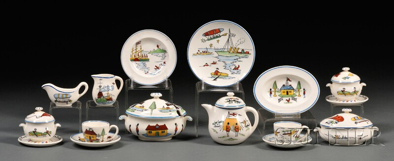Extensive Wedgwood Queen's Ware Toy Tea and Dinner Service