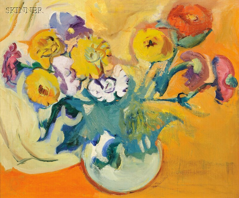 Carl Sprinchorn (American, 1887-1971)      Flowers in Round White Bowl