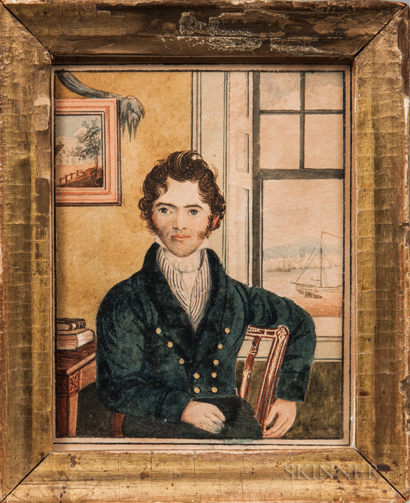 Attributed to Joseph Partridge (Rhode Island/England, b. 1792)      Portrait of Isaac Cowell