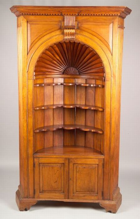 Country Georgian-style Carved Walnut Corner Cupboard