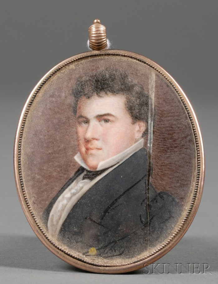 English Portrait Miniature on Ivory of a Gentleman
