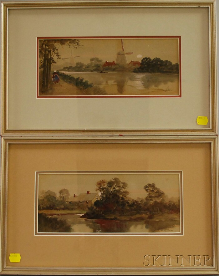Louis K. Harlow (American, 1850-1913)      Lot of Two Watercolors: Dutch Windmills