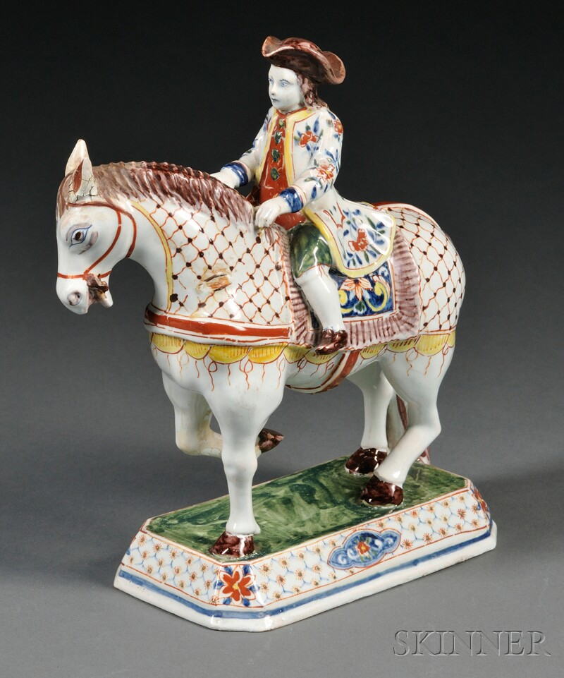 Dutch Delft Polychrome Decorated Horse and Rider