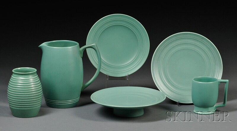 Six Wedgwood Matte Green Glazed Keith Murray Design Items