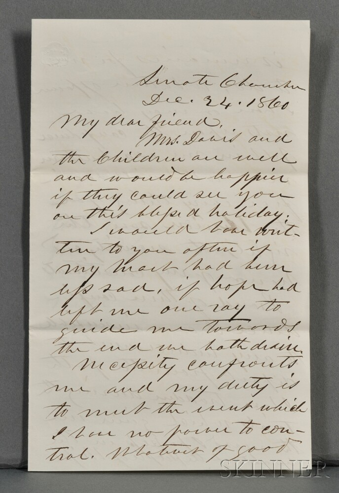 Davis, Jefferson (1808-1889) Autograph Letter Signed, 24 December 1860.