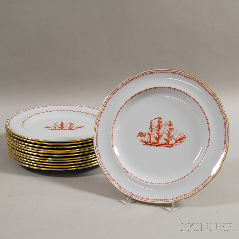 Set of Twelve Red and White Copeland Spode \