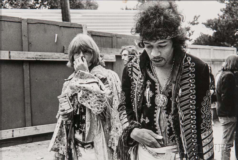 Jim Marshall (American, 1936-2010)      Jimi Hendrix and Brian Jones, Monterey Pop Festival