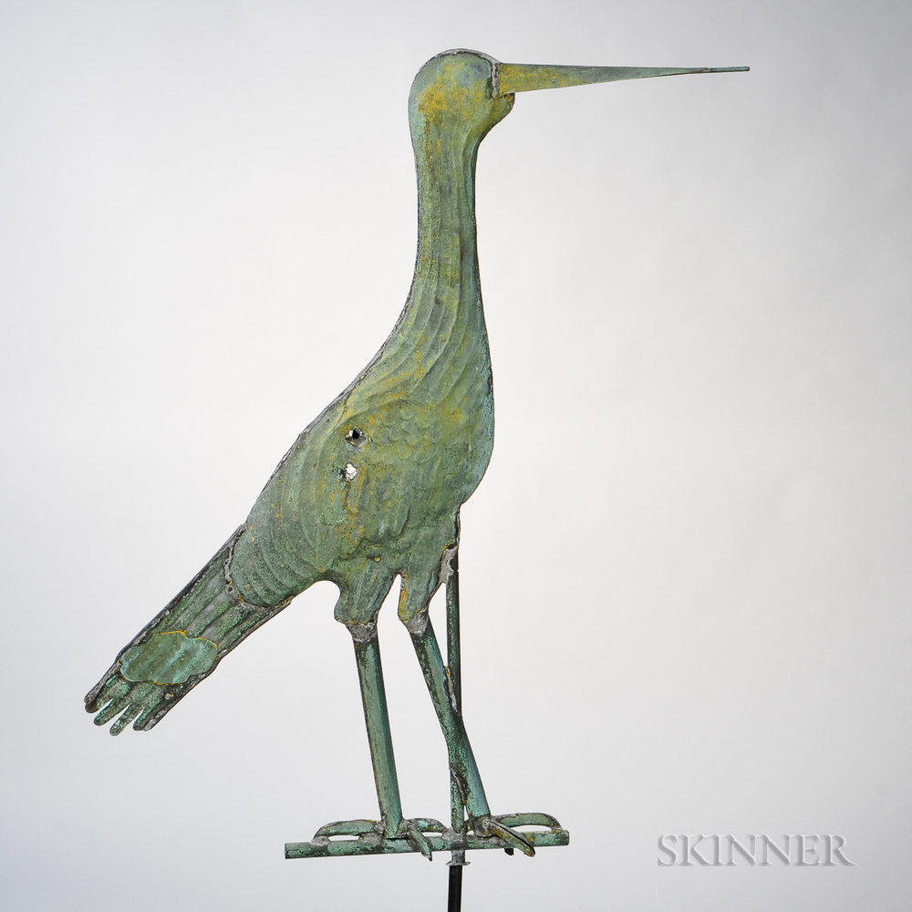 Unique Large Molded Copper Heron Weathervane