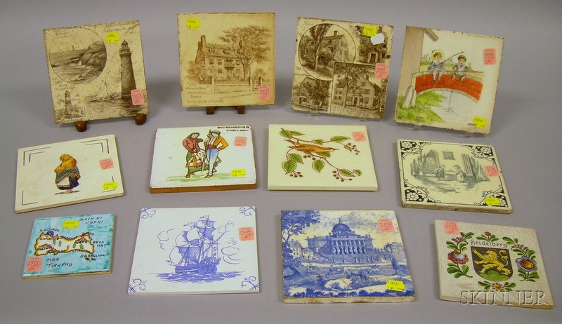 Twelve Assorted Decorated Ceramic Tiles