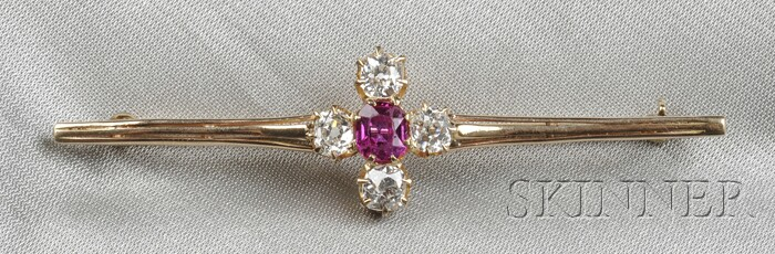 Antique Ruby and Diamond Bar Pin