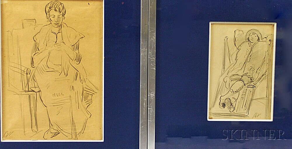 Maxime Boulard de Villeneuve (French, 1884-1971)      Two Framed Drawings: Femme Tricotant