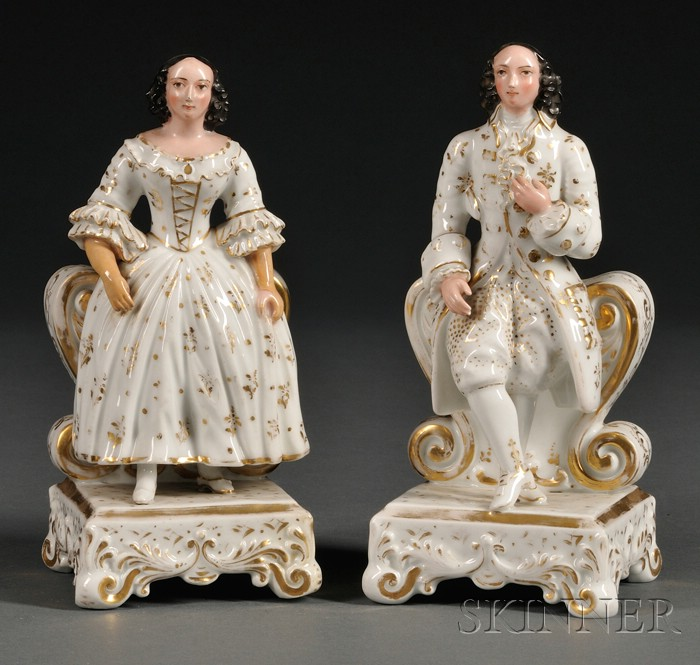 Pair of Paris Porcelain Figural Cologne Bottles