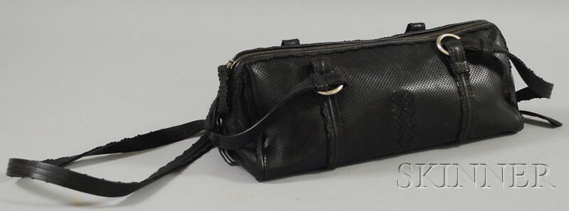 Bottega Veneta Perforated Black Leather Purse