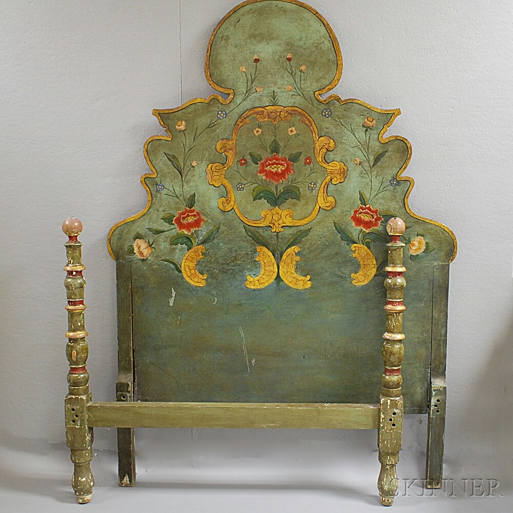 Louis XV-style Polychrome Gesso Bed