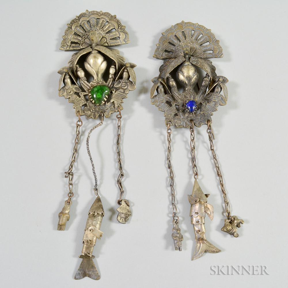 Two South American Colonial Metal Manta Pins