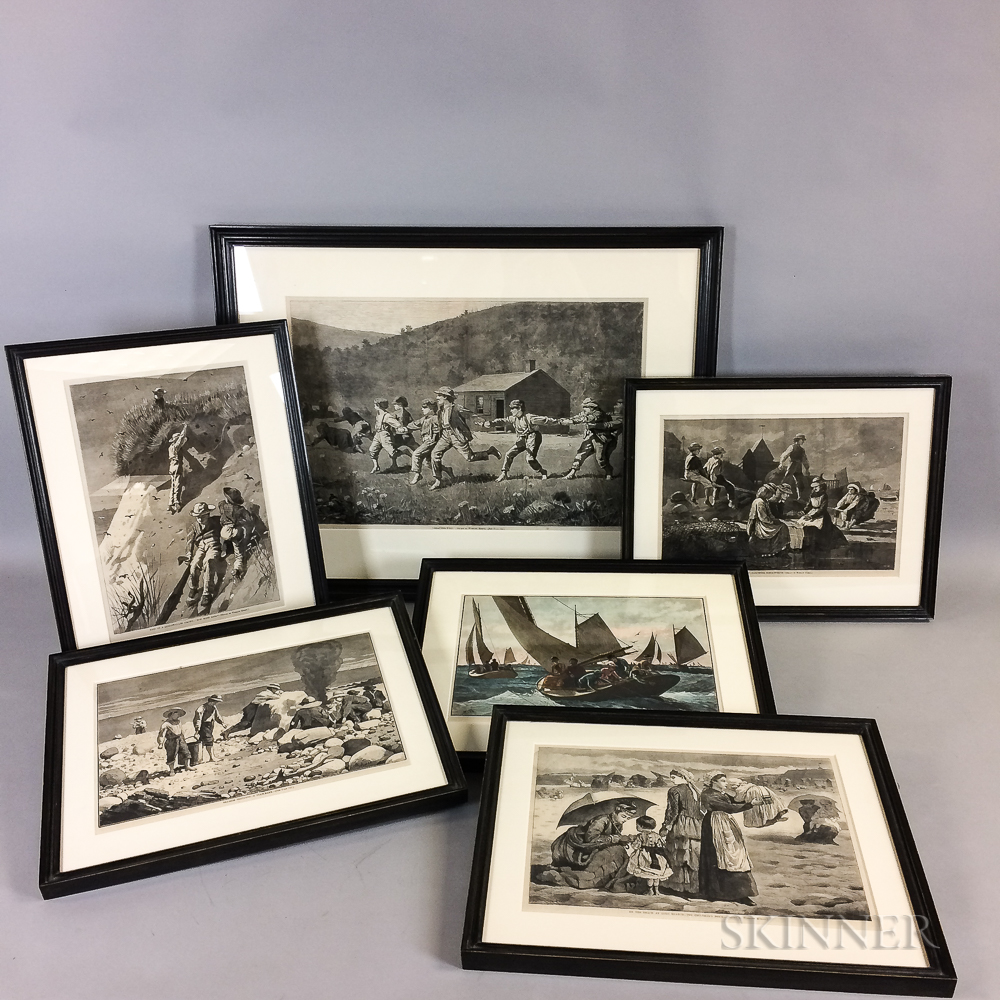 Twelve Framed Winslow Homer Prints and Ten Winslow Homer Reference Books.     Estimate $300-500