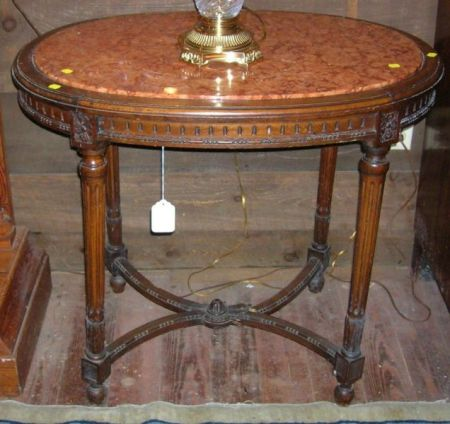 Louis XVI Style Oval Marble-top Carved Beechwood Occasional Table.