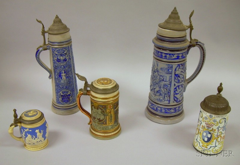 Five Decorated Stoneware and Ceramic Steins
