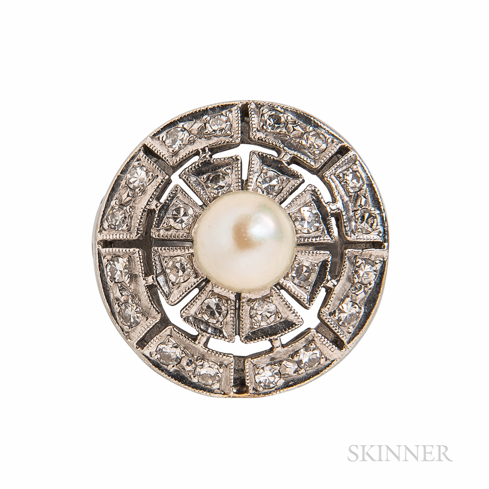 14kt White Gold, Pearl, and Diamond Ring