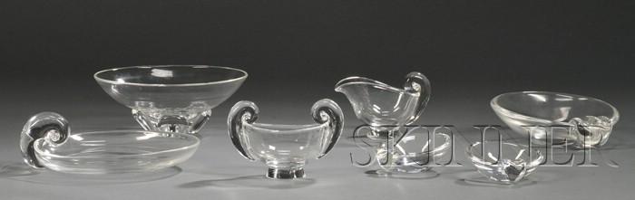 Seven Steuben Glassware Items
