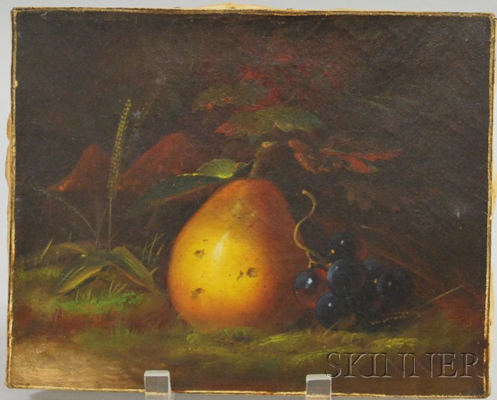 20th Century American School Oil on Canvas Still Life with Pear and Grapes