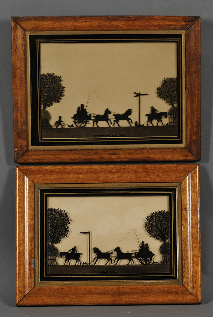 British School, 19th/20th Century      Lot of Two Reverse-painted Silhouettes of Coaching Scenes: The Tandem. 1830