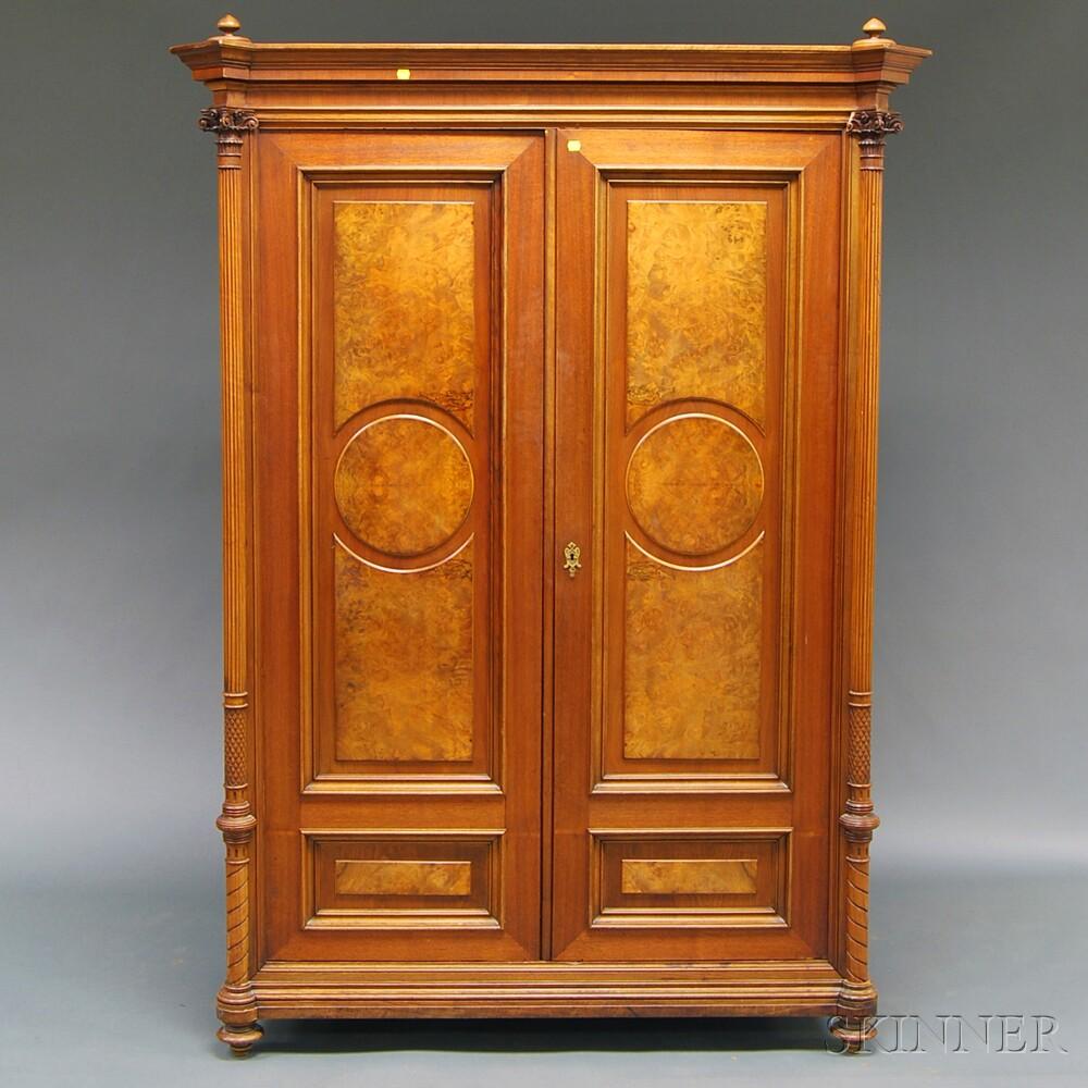 Burl Walnut Veneered Converted Neoclassical-style Armoire