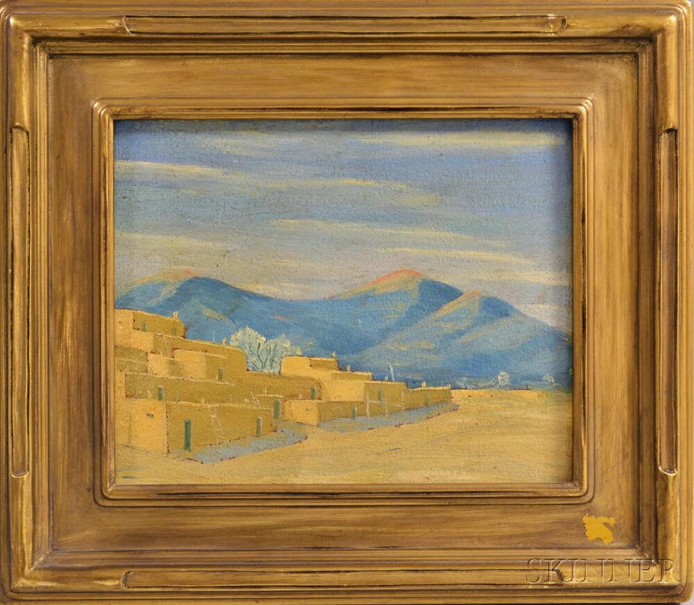 Dorothy Brett (American, 1883-1976)      Landscape with Adobe