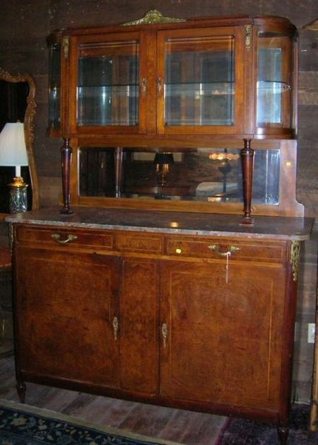 French Art Deco Marble-top Gilt-metal Mounted Inlaid Burl Veneer Mirrored Two-part Sideboard