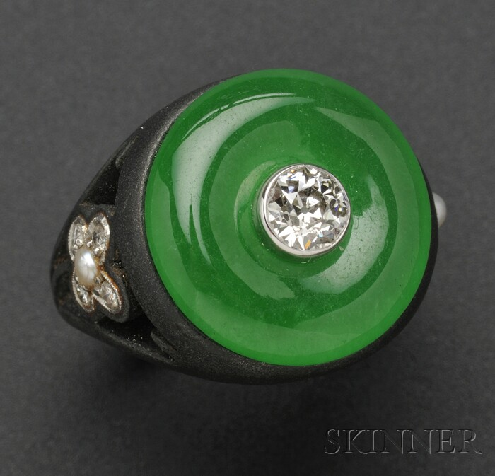 Patinated Steel, 14kt White Gold, Jadeite, Seed Pearl, and Diamond Ring, Marsh's