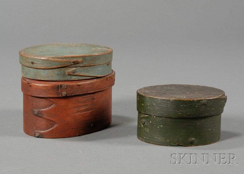 Three Small Painted Lapped-seam Covered Oval Boxes