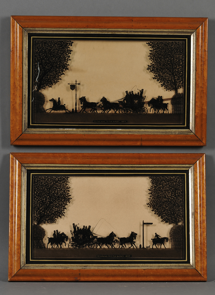 British School, 19th/20th Century      Lot of Two Reverse-painted Silhouettes of Coaching Scenes: On the Way to the Derby...1827.