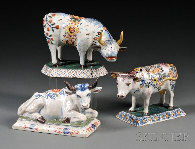 Three Dutch Delft Polychrome Decorated Cows