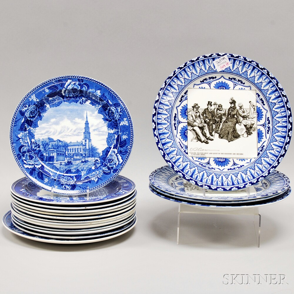 Set of Four Royal Doulton Series Ware Transfer Charles D. Gibson Gibson Girl Plates and Thirteen Wedgwood Blue Transfer-decorated Pla