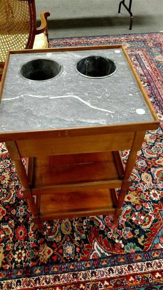 Pair of Louis Philippe Marble-top Fruitwood Rafraichissoir Tables