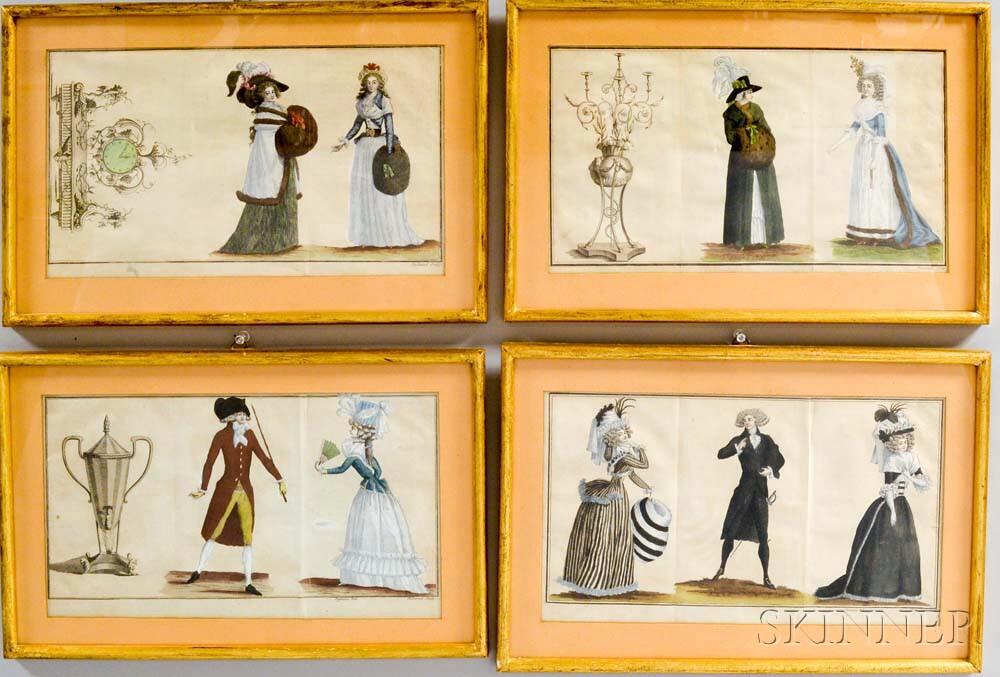 Set of Four Framed Hand-colored Duhamel Engravings After Defraine